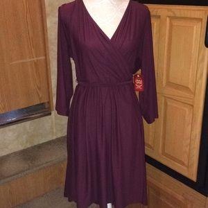 Faded Glory Purple Faux Wrap Dress XXL NWT